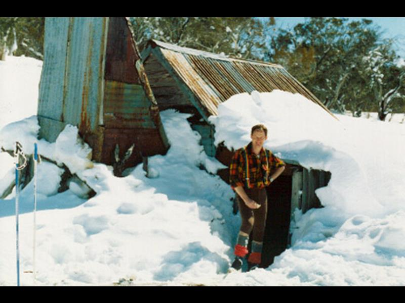 Photo of Four Mile hut in snow 1990